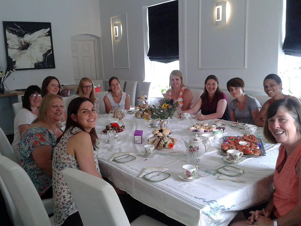 Ladies enjoying a Natural Cookery School catered Vintage Tea Party