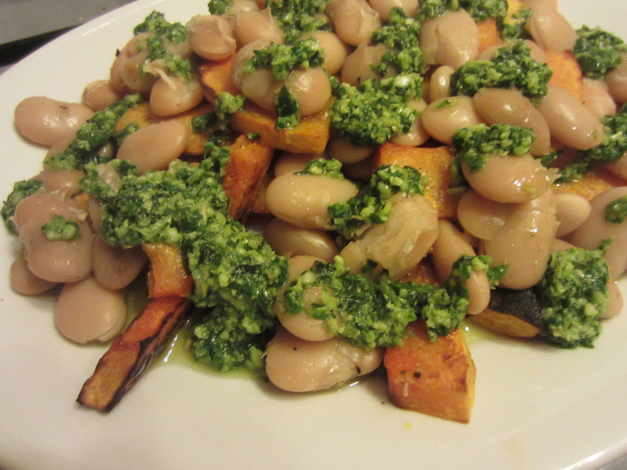 Winter Squash, Butter Beans and Spinach Pesto