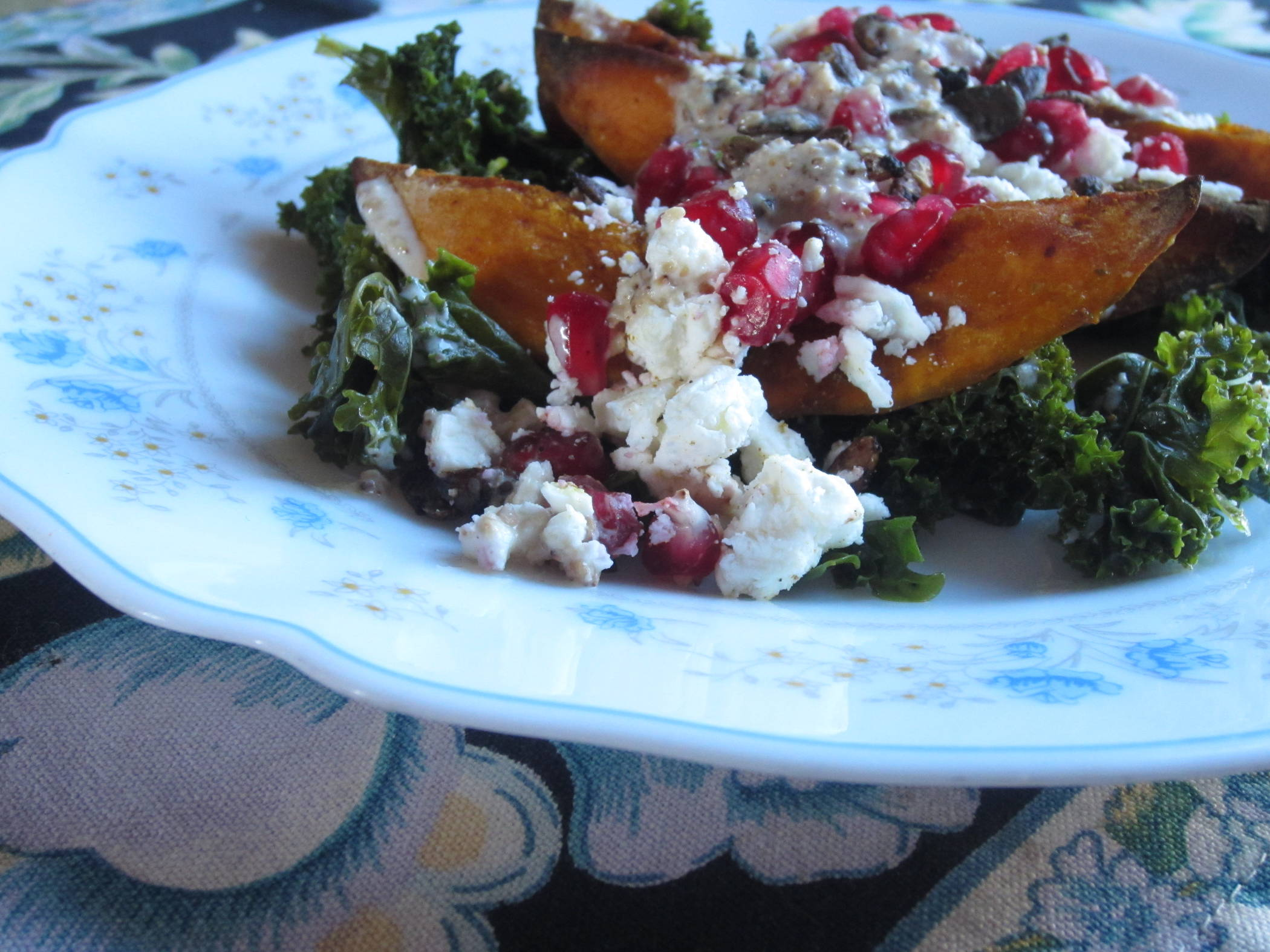 Squash, Feta and Pomegranate with Kale