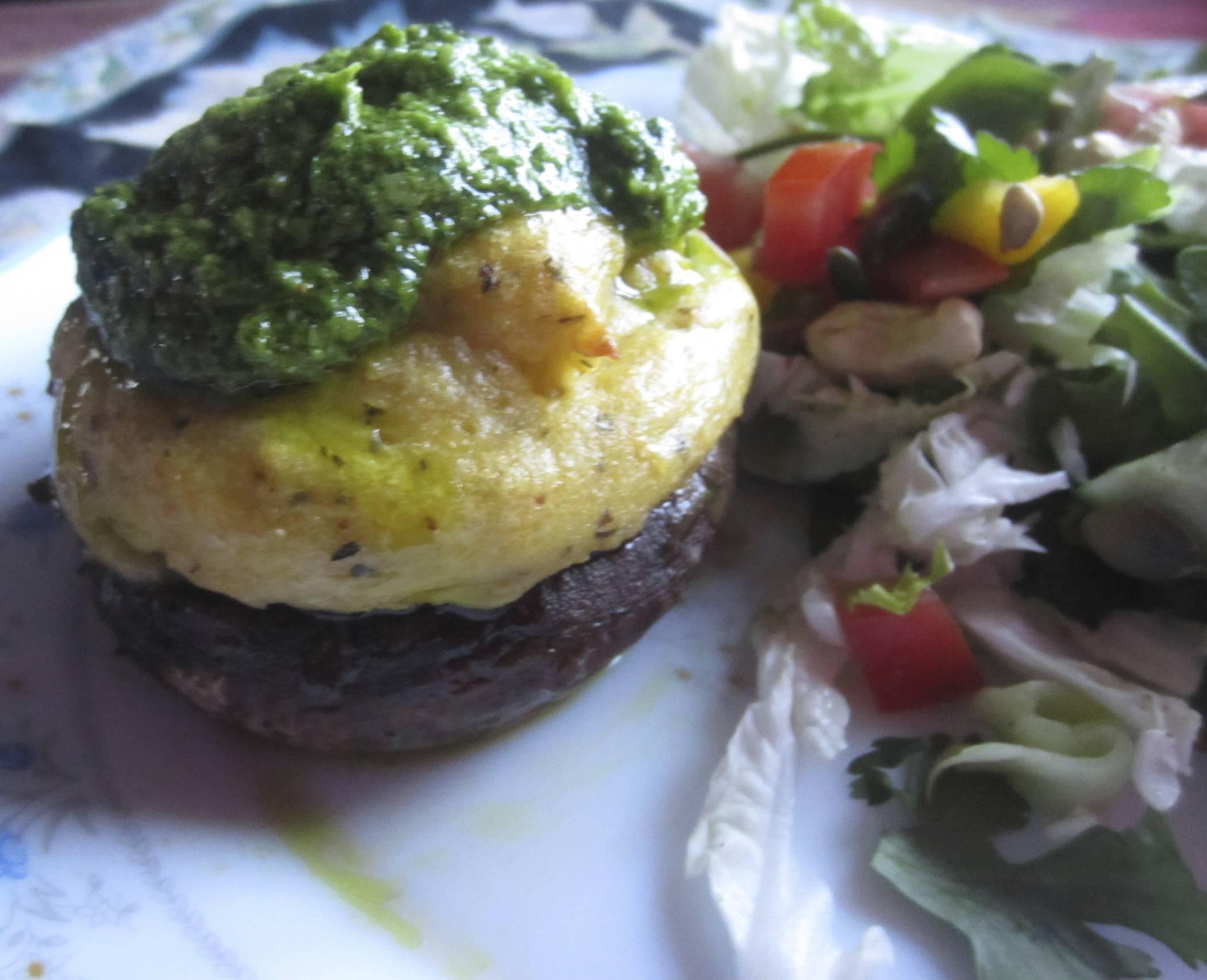 Portobello mushrooms with Polenta and Wild Garlic Pesto