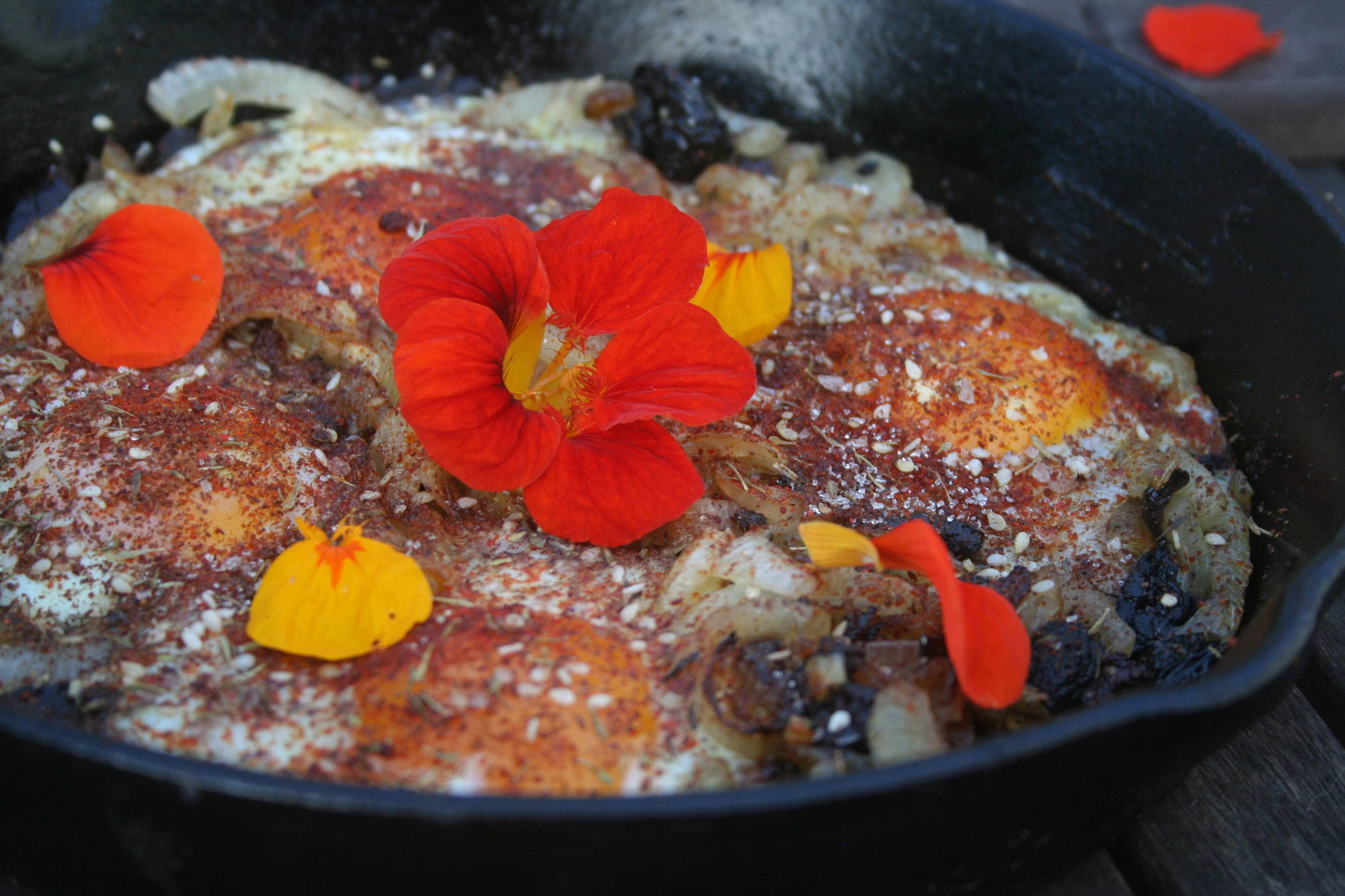 Onion, Olive and Egg Tagine with Zahtar