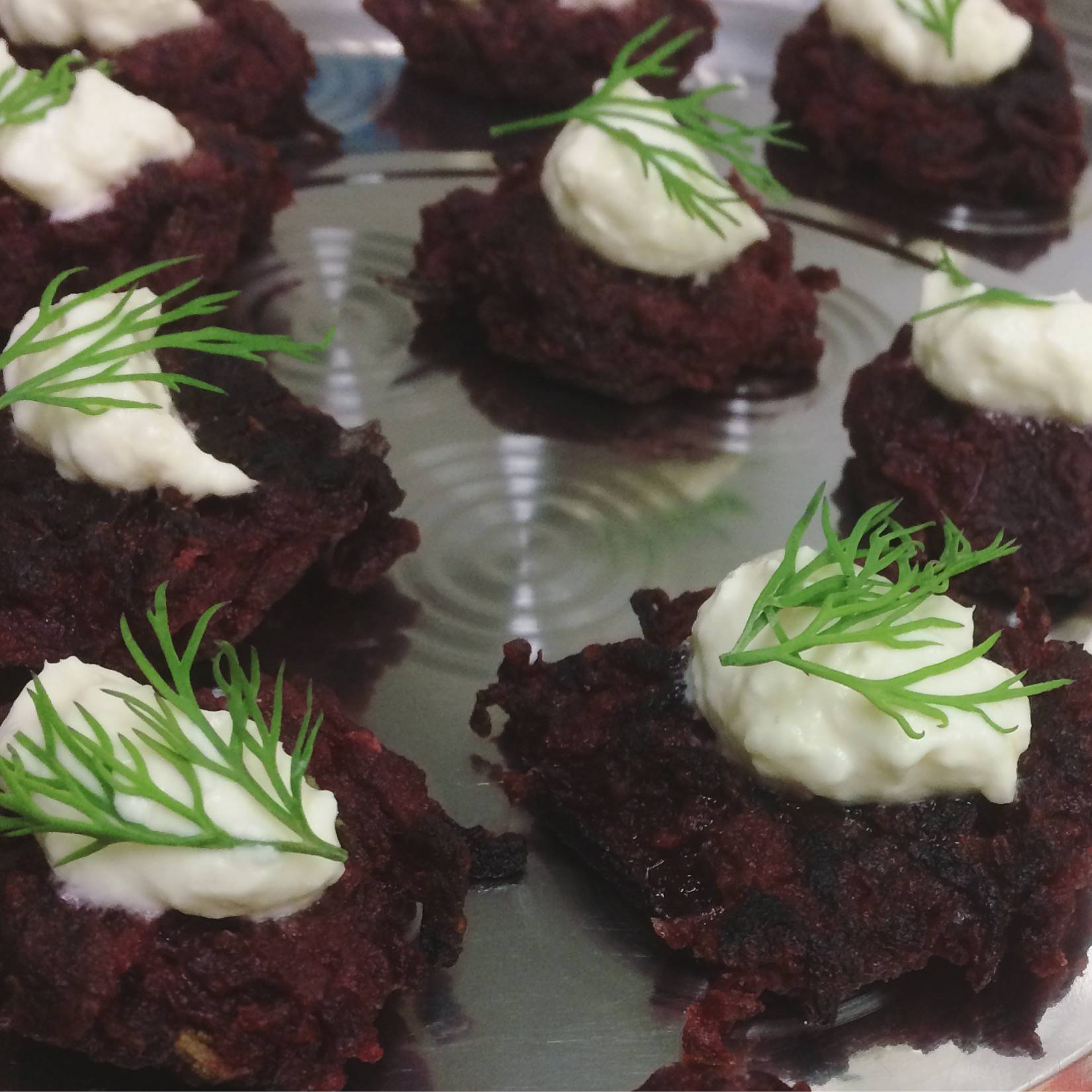 Beetroot Rosti with Vodka Horseradish Cream