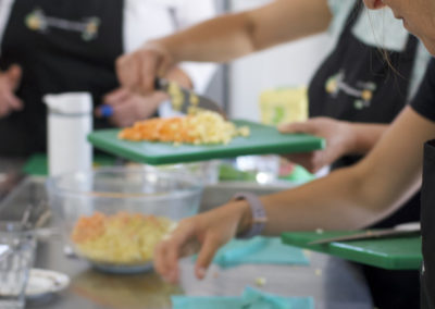 Preparation at a Natural Cookery School class