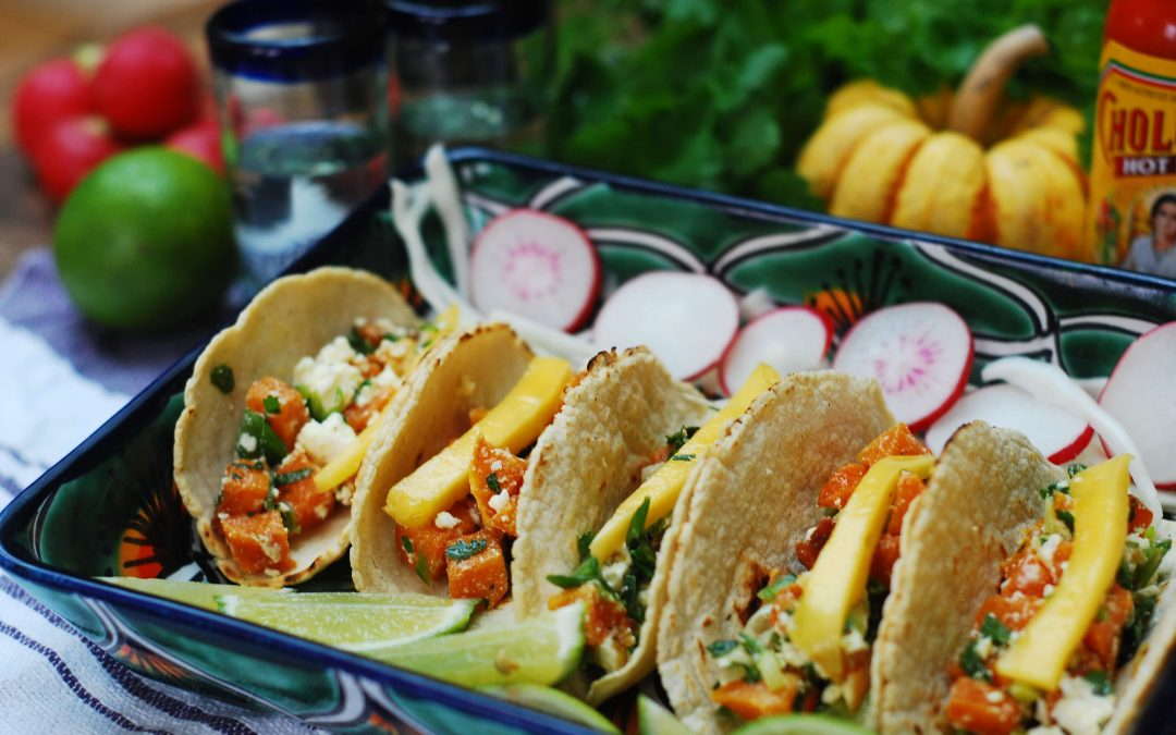 Roasted squash and mango soft tacos