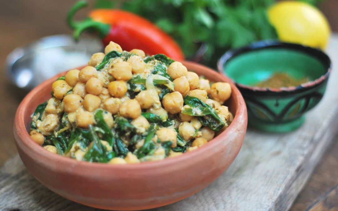 Chickpeas and spinach with chermoula