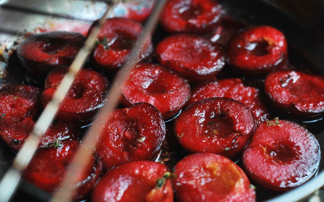 Roasted Plums with Honey and Thyme