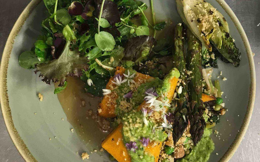Polenta and spring vegetable ragout