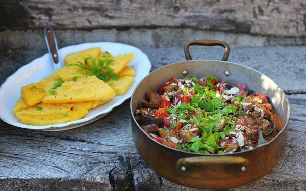 Sicilian Caponata and polenta chips