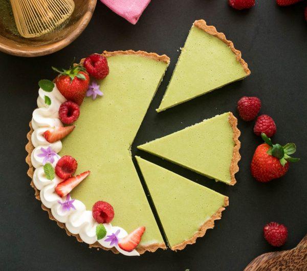 White choc matcha tart